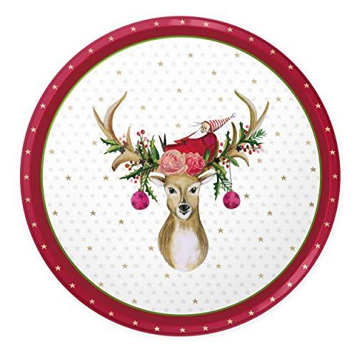 Weihnachtsteller, Nikolausteller, Weihnachtsdeko in weiß und rot, Tischdekoration zu Weihnachten, Advent, Nikolaus, Vintage für Kerzen oder Weihnachtsgebäck