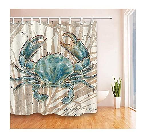 Polyester Textil Duschvorhang,Nautisches Ozeanblaues Krabbentier Moderne Einfachheit,Waschbar Und Leicht zu pflegen Mit 12 Haken Hochwertiger Druck Farbfest Langhaltig