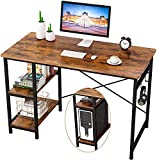 Home Office Computer Desk, 47' Writing Table with 2 Adjustable Storage, Office Writing Desk, Modern Work with Hook, Stable Metal Frame, Easy to Assemble (Rustic Brown)