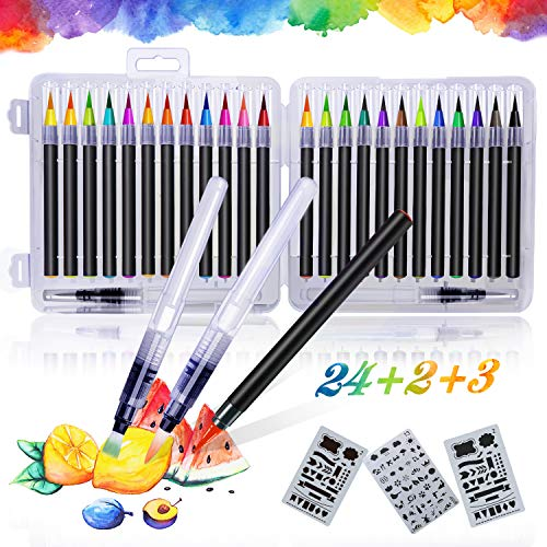 Qhui Rotuladores Lettering 24 Colores Profesionales y 2 Plum