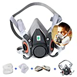 1-PACK, 7 in 1 Half Facepiece Reusable 6200 Respirator Suit for 6200 Gas Spray Painting Protection Respirator protect chemical gas industry formaldehyde (Medium)