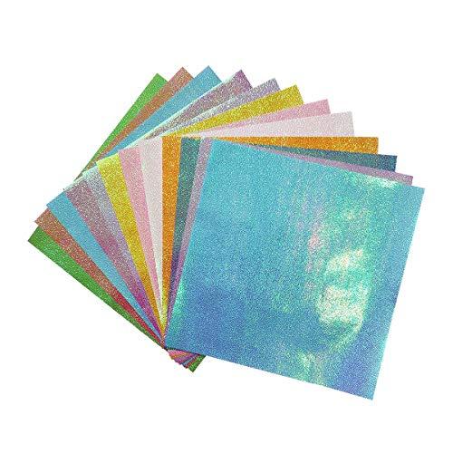 YXJDWEI 50 Blatt Origami Papier 25x25cm Glitzerndes Papier Bastelpapier für DIY Geschenkverpackung Geburtstagsparty Weihnachten Deko Sammelalbum 10 Farben
