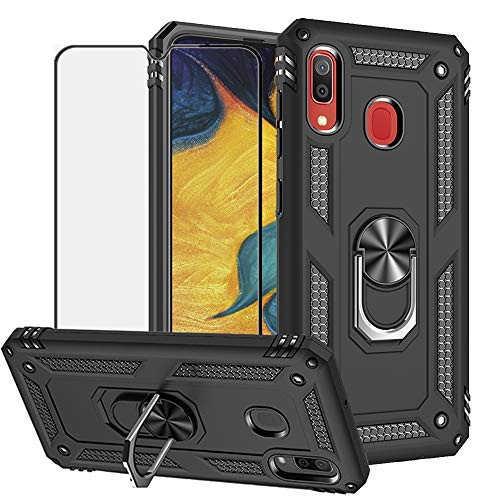 BestShare for Samsung Galaxy A20 Case & Tempered Glass Screen Protector, Rugged Anti-Scratch Shockproof Kickstand Cover Compatible Magnetic Car Mount Ring Grip, Black