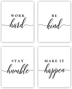 Unframed 8X10 Set of 4 Typography Inspirational Motivational Quotes Saying Watercolor Art Print Inspirational Wall Art for Kids Room Nursery Decor wgn222