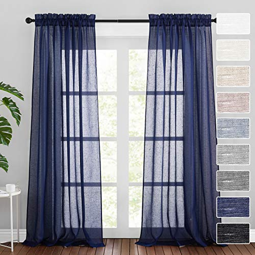 RYB HOME Semi Sheer Curtains 108 inches Long Country Linen Curtains Sunlight Glare Filter Soft Breezy Window Decor for Living Room Sunroom Bedroom, Navy Blue, W 52 x L 108 inch, 1 Pair