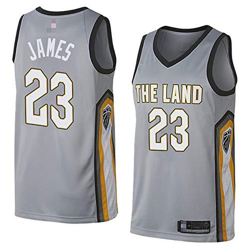 Camisetas De Baloncesto De Los Hombres,NBA Cleveland Cavaliers # 23 Lebron James -Uniformes De Chaleco Transpirable Suelto Uniformes Classic Comfort Camiseta Sin Mangas Tops,Gris,L(175~180CM)