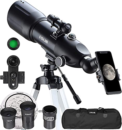 ESSLNB Telescopes for Adults Kids Astronomy Beginners 80mm Astronomical Telescopes with 10X Phone...