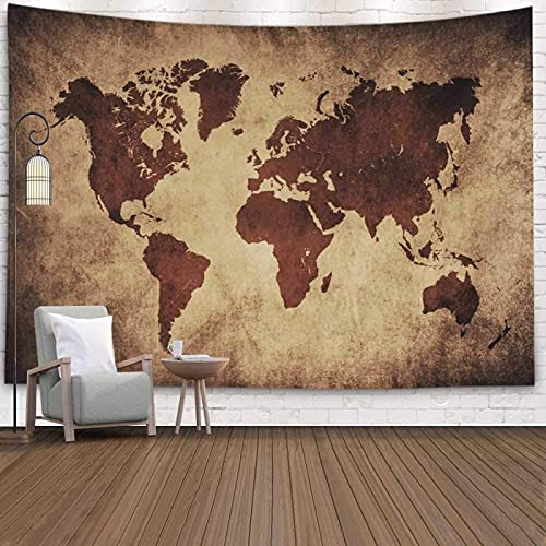 Tapiz de pared del mundo, tapiz de mapamundi negro, para colgar en la pared, mapamundi de viaje, mapamundi del mundo, decoración de dormitorio universitario, 156 x 50 cm, marrón negro
