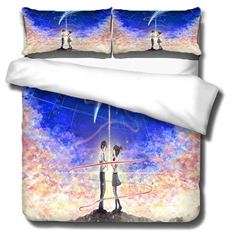 ZSDFPW Funda de edredón Pareja de Aurora Blanca Rosa Azul Ropa de Cama Anti alergico Cierre de Cremallera 260cmx220cm 2 Fundas de Almohada 50cmx75cm para Dormitorio de Sala de Estar