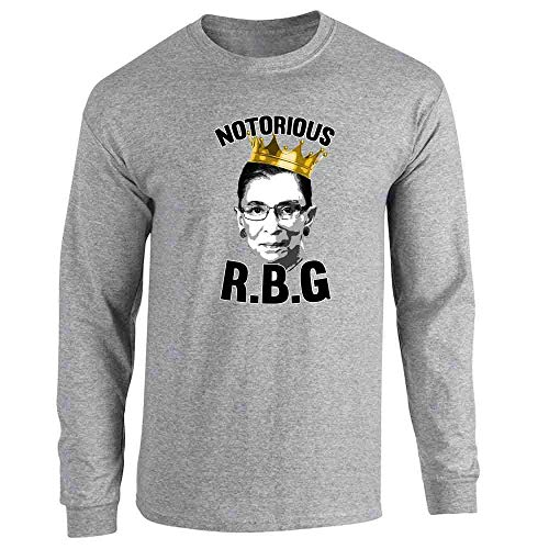 Pop Threads Notorious R.B.G. RBG Supreme Court Political Sport Grey L Full Long Sleeve Tee T-Shirt