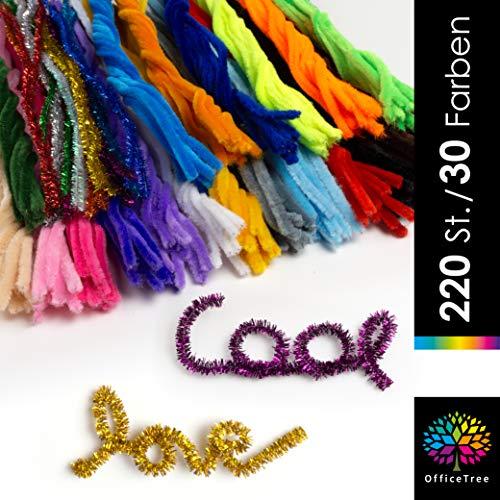 OfficeTree 220 Pfeifenreiniger zum Basteln - Pfeifenputzer Bunt 30 Farben inklusive Glitzerfarben - Pfeiffenputzerdraht für Kinder DIY Deko
