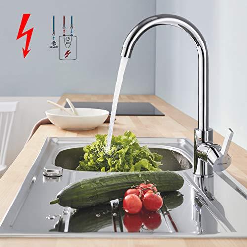 WOOHSE Niederdruck Küchenarmatur Spültischarmatur Küche Armatur Wasserhahn 360° Schwenkbar Mischbatterie Einhebelmischer Niederdruckarmatur Einhandhebelmischer für Untertischgerät