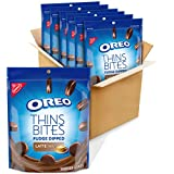 OREO Thins Bites Fudge Dipped Sandwich Cookies, Latte Flavored Creme, 6 Pouches (6 oz.)