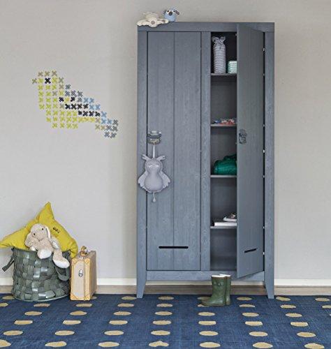 milanari Armario ropero para habitación infantil, de madera, gris, 94 x 44 x 190 cm