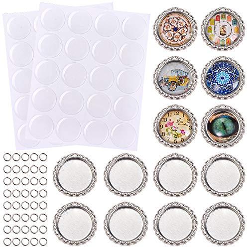 SUNNYCLUE 80 Tapas cromadas para Botellas con Adhesivo de Resina para Manualidades,...