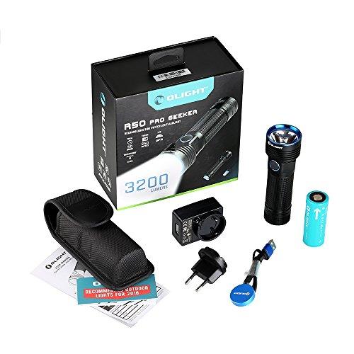 OLIGHT® R50 Pro Seeker Taschenlampe Max. 3200 Lumen 250 Meter Leuchtweite mit CW LED - Leistungsstarke Taschenlampe Wiederaufladbar über Magnet USB Ladeadapter