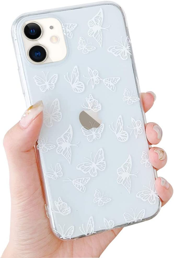 LCHULLE Butterfly Case for iPhone SE 2020 iPhone 7/8 Case Fashion Cute Hollow Butterfly Design Girls Women Crystal Clear Soft TPU Bumper Shockproof Protective Case Cover for iPhone 7/8/SE2020, White