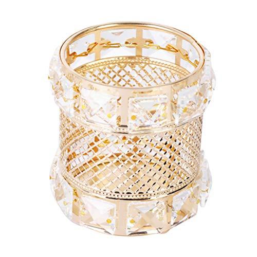 TOPBATHY Porte-Stylo Métal Maquillage Pinceau Vase Pot Porte-Stylo Rangement Organisateur Conteneur en Mesh Panier De Bureau Maquillage Ornement Maquillage Crayon Tasse À Café (Golden)