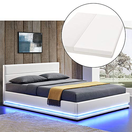 ArtLife LED Polsterbett Toulouse 180 × 200 cm mit Matratze, Lattenrost & Bettkasten - Kunstleder Bezug & Holz Gestell – weiß – Bett Doppelbett