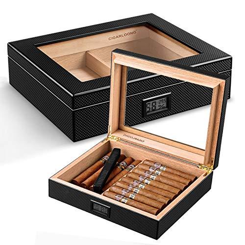 GFITNHSKI Humidor de cigarro de escritorio, caja de escritorio de cigarrillo de cedro, caja de cuero de cuero superior, húmedor de cedro artesanal, con higrómetro digital frontal, sostiene (30-50 ciga