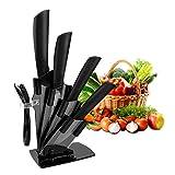 CORESLUX Keramikmesser Set, Küchenmesser Set mit 4-teilig Messer und 1 Sparschäler, rostfrei und schmutzabweisend Kochmesser Sets für Fleisch, Brot, Obst & Gemüse (Schwarz)
