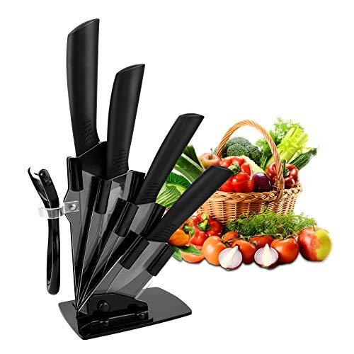 CORESLUX Juego de cuchillos de cerámica, juego de 4 piezas con cuchillo y 1 pelador, inoxidable y resistente a las manchas, para carne, pan, frutas y verduras (negro)