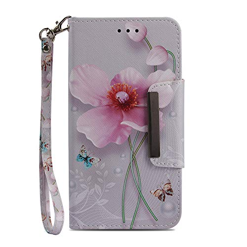 JanCalm Wallet Case for iPhone 6 Plus/6S Plus,[Card Holder/Cash Slots] Pattern Flip Case Wallet PU Leather with Stand + Wrist Strap Cover for Apple iPhone 6/6S Plus (5.5 Inch) + Crystal Pen (Flower)