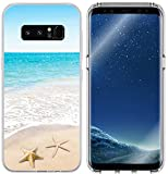 S8 Plus Case Beach & Galaxy S8 Plus Protector & MUQR Replacement Bumper Rubber Gel Silicone Slim Drop Proof Protection Cover Compatible with Samsung Galaxy S8 Plus & Beach Wave Starfish Design