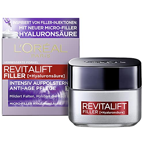 L\'Oréal Paris Hyaluron Tagescreme, Anti-Aging Gesichtspflege mit Micro-Filler Hyaluronsäure für Feuchtigkeit und Anti Falten Effekt, Revitalift Filler,1 x 50 ml