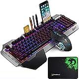 LexonElec Wireless 2.4G Teclado recargable Mouse Mouse Set 3000mAh Gran capacidad Mecánica Teclado retroiluminado Rainbow Gamer 2400DPI 7 colores Ratón de respiración 6 botones Ratones ópticos para PC
