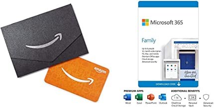 Microsoft 365 Family 12 month auto-renewing subscription with $20 Amazon.com Gift Card