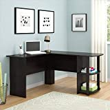 Binlin L-Shaped Computer Desk, Wood Right-Angle Computer Desk with Two-Layer Bookshelves Dark,Brown