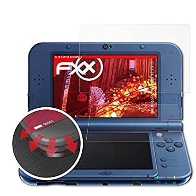 atFoliX Shock Absorption Protection Film compatible with Nintendo New 3DS XL 2015 Anti Shock Screen Protector, anti-reflective and flexible FX Screen Protector (Set of 3)