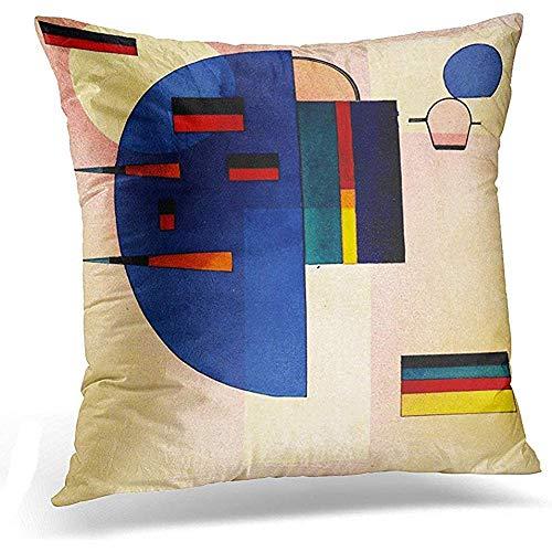 AllenPrint Kopfkissenbezug,Wassily Kandinsky Abstrakte Vintage Moderne Geometrische Formen Dekorative Kissenbezug Home Decor Square Kissenbezug,45X45Cm