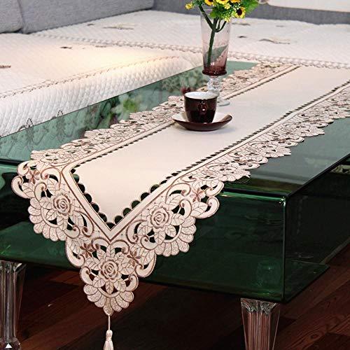 Coner vintage geborduurde pioen satijn stof opengewerkt bruiloft banket tafelloper dressoir sjaal home hotel tafel cover decor, 40x150cm