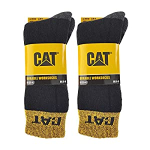 Caterpillar Durable Worksocks 4 pares de calcetines de trabajo duraderos, puntera y talón ultra reforzados, en algodón de felpa