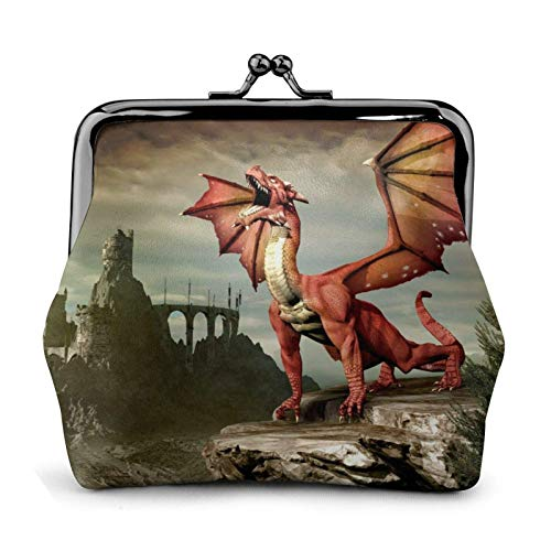 Dragon Pattern Coin Purse Wallet Bule -Lo Small Leather Change Pouch Gift for Women