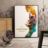 XWArtpic Película de Dibujos Animados en 3D Estadounidense El Rey León Simba impresión de póster habitación Infantil Sala de Estar Decoración del hogar Cuadro Lienzo Pintura 40 * 50 cm