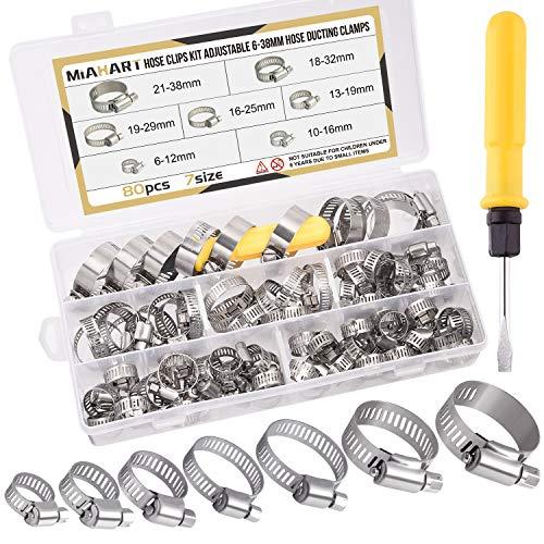 MIAHART 80 Stücke Schlauchschelle Set 6-38mm Einstellbare Edelstahl Rohrschellen 7 Größen Schlauchklemmen für Waschmaschine, Garten, Spülmaschine, Pool, Auto