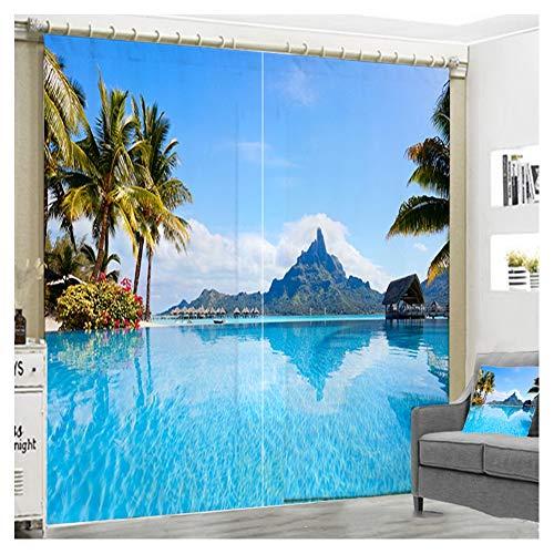 PAYDCAUS Tenda Oscurante 3D, Tende a Drappeggio oscuranti, Paesaggio Marino Blu Termiche Oscurante Isolamento Acustico Stampa 3D Drappeggio Tenda Decorazione, 2 PannelliA