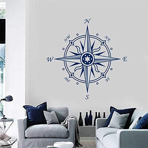 Wandtattoo Wandaufkleber Kompassrose für Schlafzimmer nautisch navigieren Wohnzimmer Badezimmer Home Decor Art