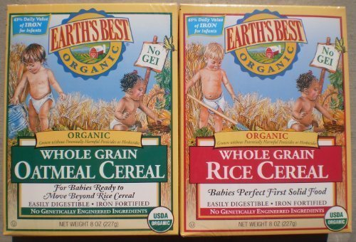 Earth's Best Organic Whole Grain Oatmeal & Whole Grain Rice (One 8 Oz Box of Each)
