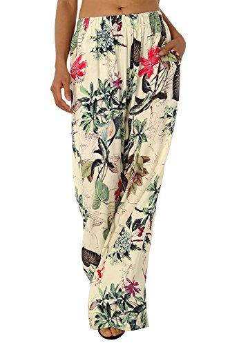 BaiShengGT Damen Blumenmuster Locker Weite Beine Lange Hose mit Seitentaschen Apricot-Blumen M - 2