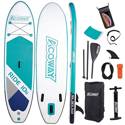 """ACOWAY Inflatable Stand Up Paddle Board,10'6×32""""×6"""" Paddle Board, SUP Paddleboard Accessories Backpack, Bottom Fin Paddling Surf Control, Non-Slip Deck, Youth & Adult Stand up Paddle Board, Green"""