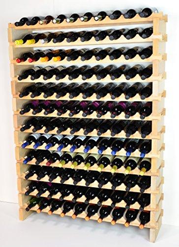 sfDisplay.com,LLC. Modular Wine Rack Beechwood 40-120 Bottle Capacity 10 Bottles Across up to 12 Rows Newest Improved Model (120 Bottles - 12 Rows)