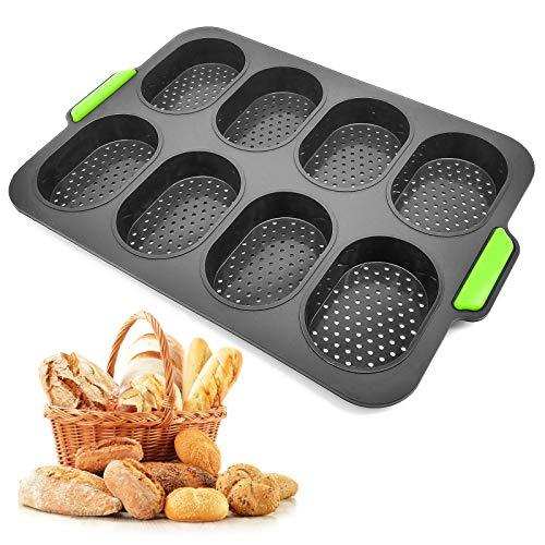VINLINGDAI Brötchen Backform,Brot Crisping Tray Non Stick silikon 8 Grids Mini Baguette Backblech für Küchen-Backwerkzeug (schwarz/23.8 * 34.5 * 2.5CM)