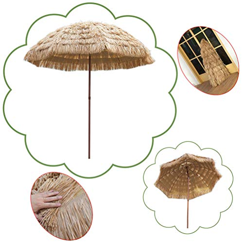 CYGG Parasol De Plage De Paille Parasol De Jardin Hawaiian Pool Beach Parasol De Couleur Naturelle avec Inclinaison