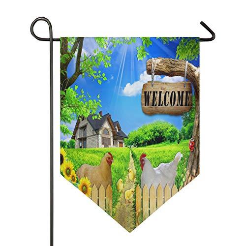 Oarencol Welcome-Flagge Hahn Huhn Bauernhof Sonnenblumen Dorf Blau Himmel Wolken Garten Flagge doppelseitig Home Yard Decor Banner Outdoor 31,8 x 45,7 cm, Polyester, Multi, 28 x 40 inch