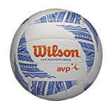 Wilson Voleibol AVP Modern, Balón de Voleibol Playa, Cuero Compuesto, Tamaño Oficial, Blanco/Azul/Naranja, WTH305201XB