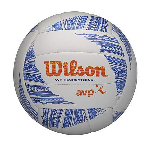 Wilson, Pallone Da Pallavolo Avp Modern, Beach Volley, Pelle Composita, Dimensioni Ufficiali, Multicolore (Bianco/Blu/Arancione), Wth305201Xb